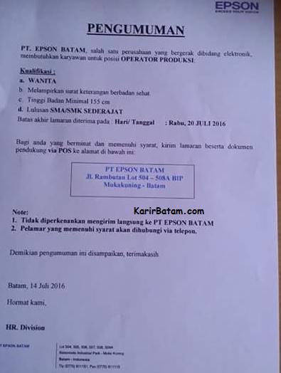 Lowongan Kerja Pt Epson Batam Ditutup 20 Juli 2016 Lowongan