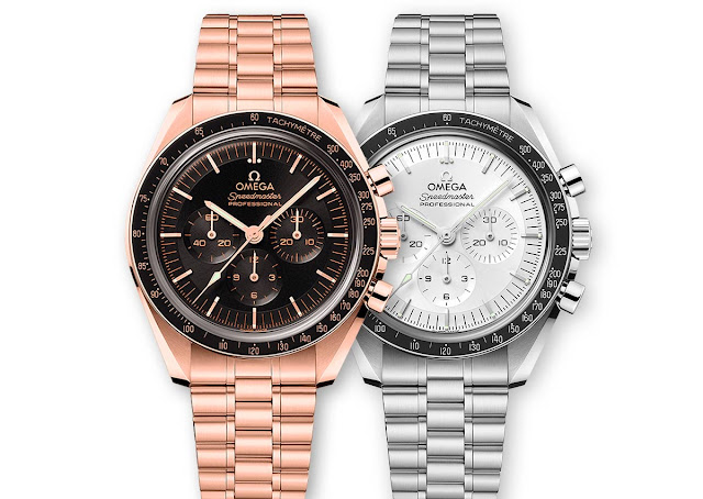 Omega Speedmaster Moonwatch in Sedna gold and Canopus gold