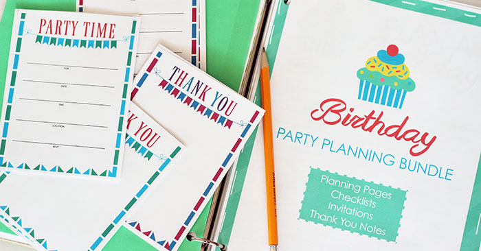 All in One Birthday Party Planner Printable Set Sunny Day Family