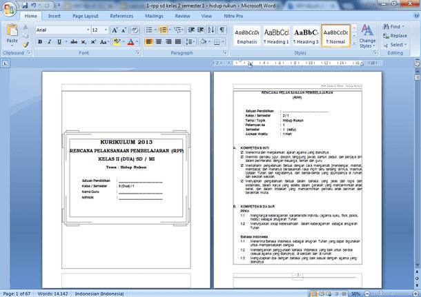 RPP SD MI Kelas 2 Kurikulum 2013 Revisi 2018 Semester 1 dan 2
