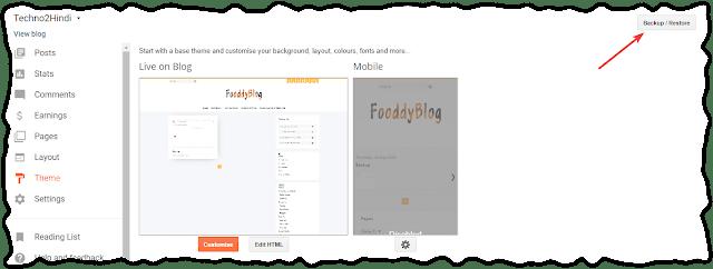 Backup of Blogger Blog theme