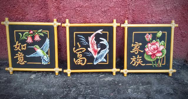 иероглифы панна, богатство, исполнение желаний, семья, лотос, колибри, карпы, panna И-156, panna И-0155, panna И-0157