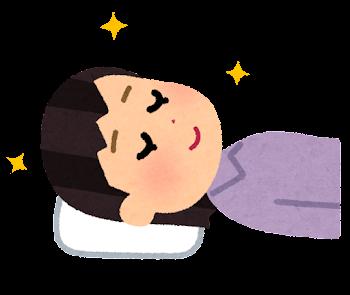 枕が合う人のイラスト(女性)