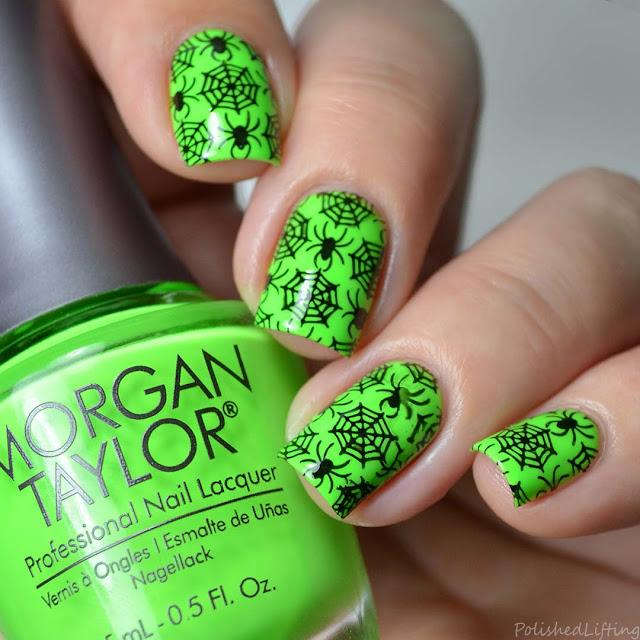 neon spider nail art