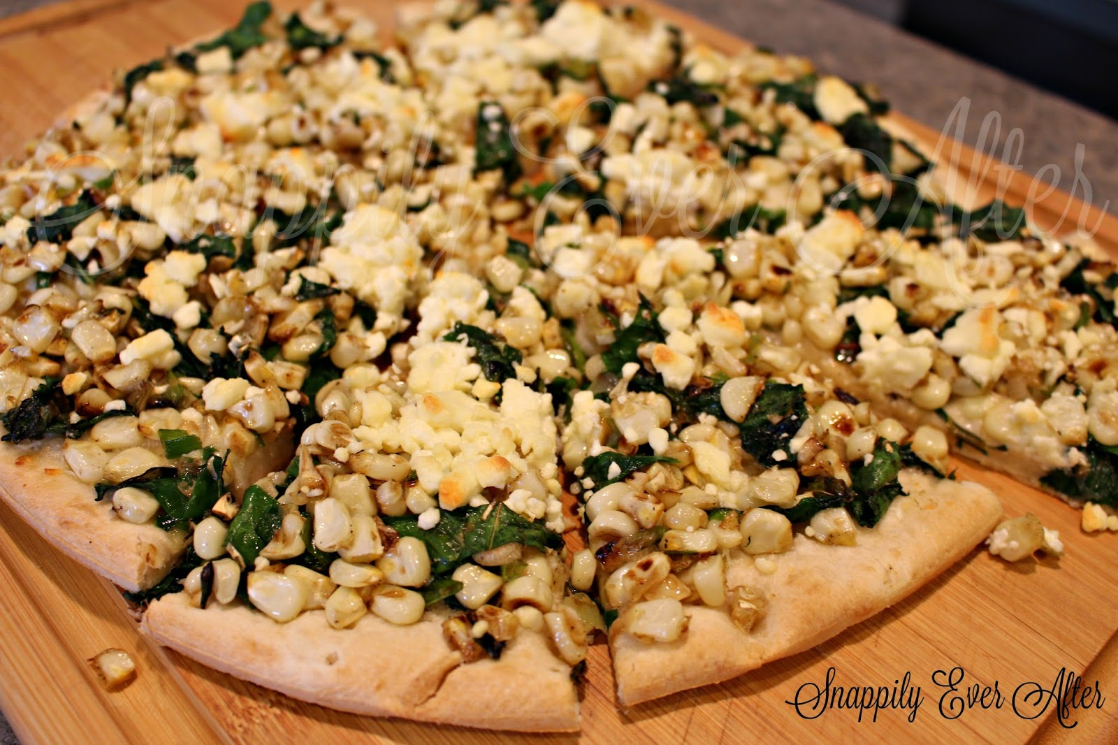 Snappily Ever After: Corn, Chard and Green Onion Flat Bread