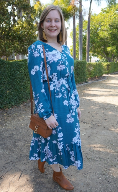 Kmart teal floral print midi dress with mustard tassel earrings and tan MAB camera bag and ankle boots spring church outfit | awayfromblue