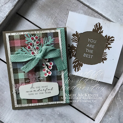 By Angie McKenzie for Around the World on Wednesday Blog Hop; Click READ or VISIT to go to my blog for details! Featuring the Buffalo Check Stamp Set, Beautiful Boughs Dies, Peaceful Boughs Stamp Set, Tasteful Touches Bundle, Tasteful Textiles 3D Embossing Folder, Pinewood Planks 3D Embossing Folder by Stampin' Up!® to create a texture you can feel on cards; #stampinup #cardtechniques #cardmaking #tastefultouchesbundle #buffalocheckstampset #peacefulboughsstampset #beautifulboughsdies #tastefullabelsdies #tastefultextilesembossingfolder #pinewoodplanksembossingfolder #naturesinkspirations #sponging #fauxletterpress #drybrushtechnique #handmadecards #20202021annualcatalog #augdec2020minicatalog #stampinupinks #stampingtechniques #awowbloghop #aroundtheworldonwednesdaybloghop