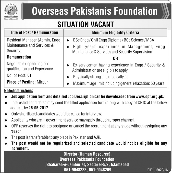 Jobs in Overseas Pakistanis Foundation Islamabad opf 2017