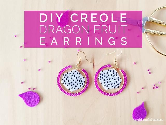 DIY creole dragon fruit earrings