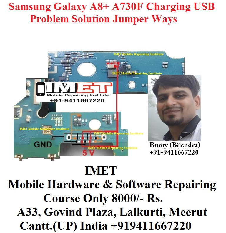Samsung Galaxy A8+ A730F Charging USB Problem Solution Jumper Ways