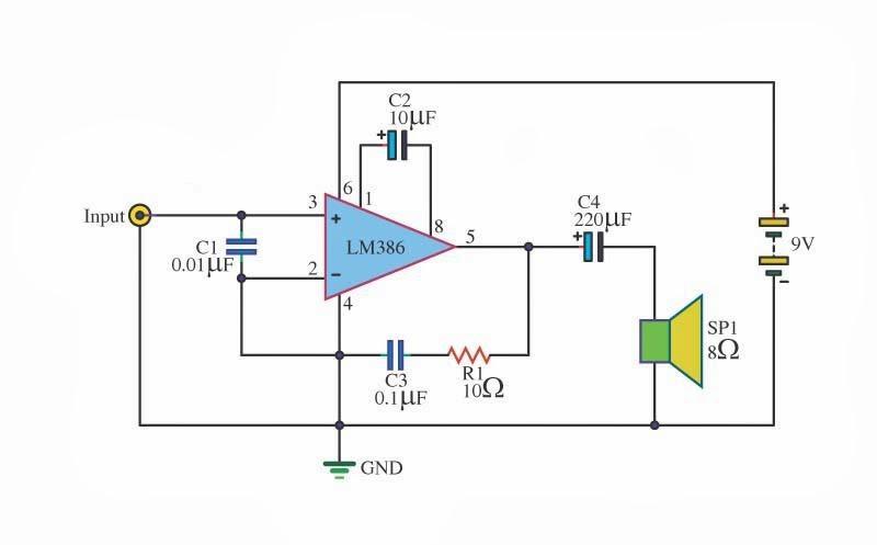 Electronics Circuit Application: LM386 audio amplifier