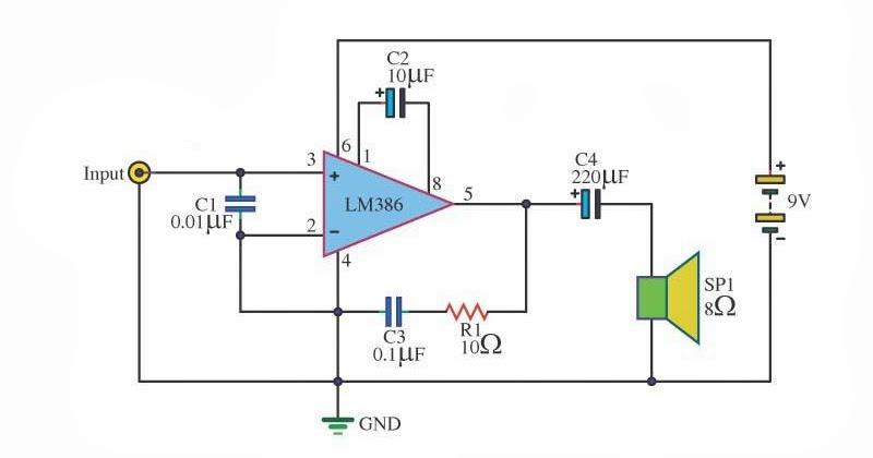 Drawdio Schematic Lm386 Audio Amplifier