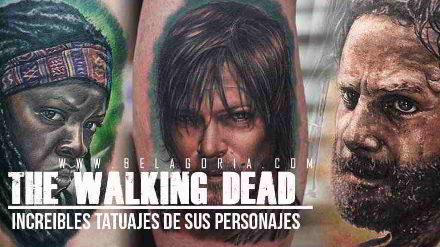 Foto de tres tatuajes de the walking dead