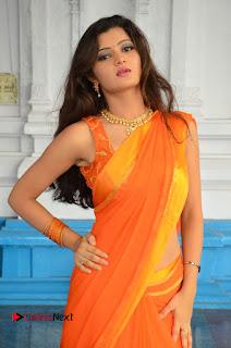 Actress Akishitha Pictures in Saree at Prayanam Movie Opening  0108.JPG