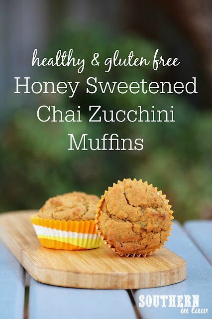 Healthy Honey Sweetened Chai Zucchini Muffins Recipe - low fat, gluten free, healthy, sugar free, clean eating recipe, nut free, kid friendly