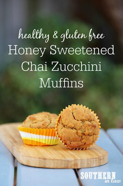 Healthy Honey Sweetened Chai Zucchini Muffins Recipe - low fat, gluten free, healthy, sugar free, clean eating recipe, nut free, kid friendly