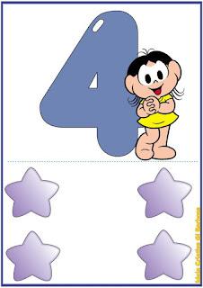 Numerais de parede ilustrados com a Turma da Mônica