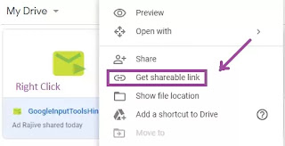 Get shareable link in google drive