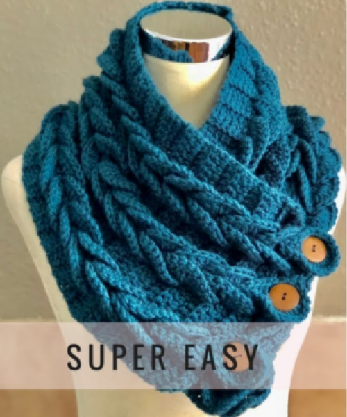 Braids Crochet Scarf Cowl - Easy Tutorial