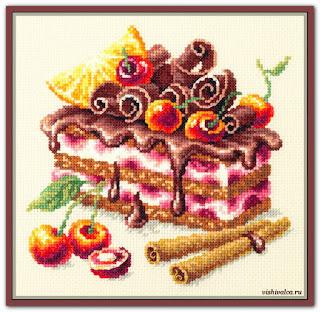 """Скачать схему вышивки 120-072 """"Вишнёвый торт"""" Чудесная игла"""