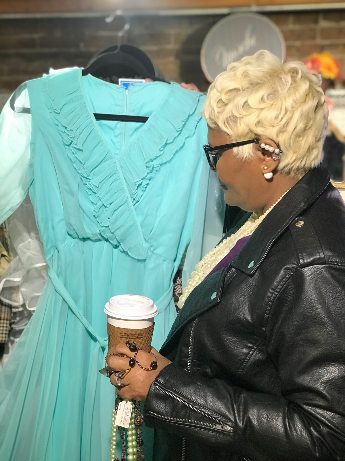 Being Forty Something: Tangie Bell is shopping alone and trying on a blue dress. Shopping Alone + Babbling About Aging With Grace!