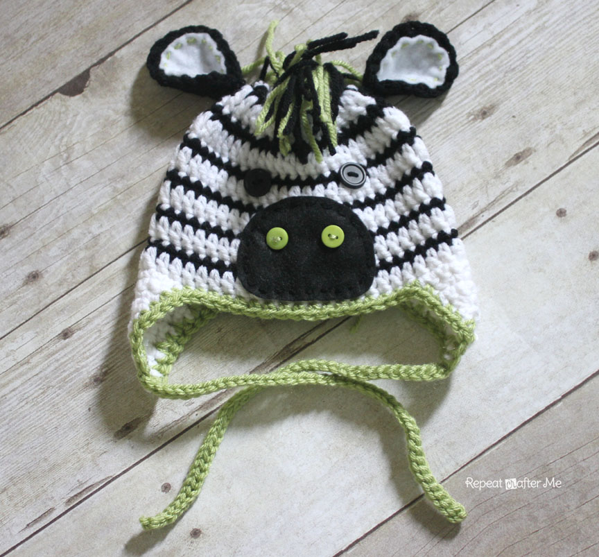 Crochet Zebra Hat Pattern - Repeat Crafter Me