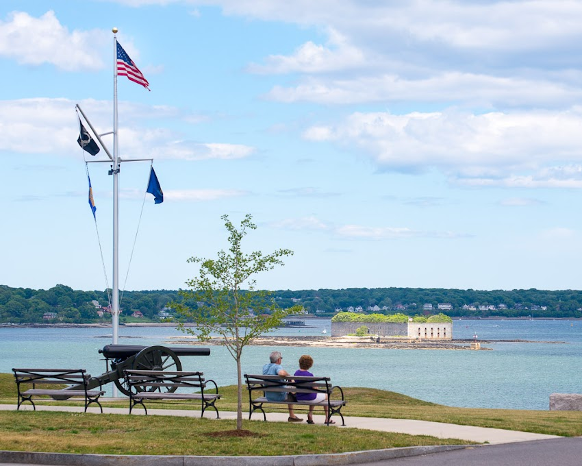 Portland, Maine USA July 2016 Fort Allen Park overlooking Casco Bay and Eastern Promenade. Photo by Corey Templeton.