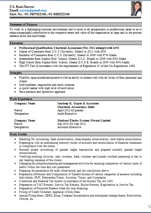 Resume For Bank Job Fresher