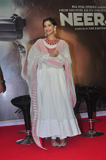 Actress Sonam Kapoor Pictures in White Salwar Kameez at Neeraja Movie Promotions 0015