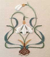 Crewel embroidery of snowdrops designed by Sarah Stevens of Melbury Hill