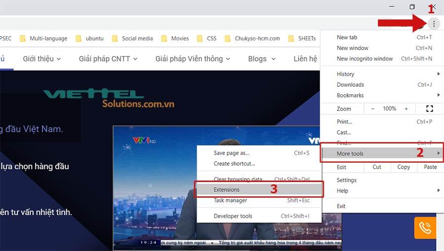 Hình 3 - Mở tiện ích mở rộng trên Google Chrome