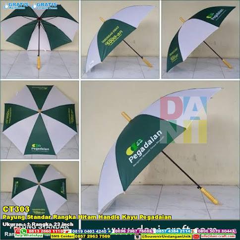 Payung Standar Rangka Hitam Handle Kayu Pegadaian