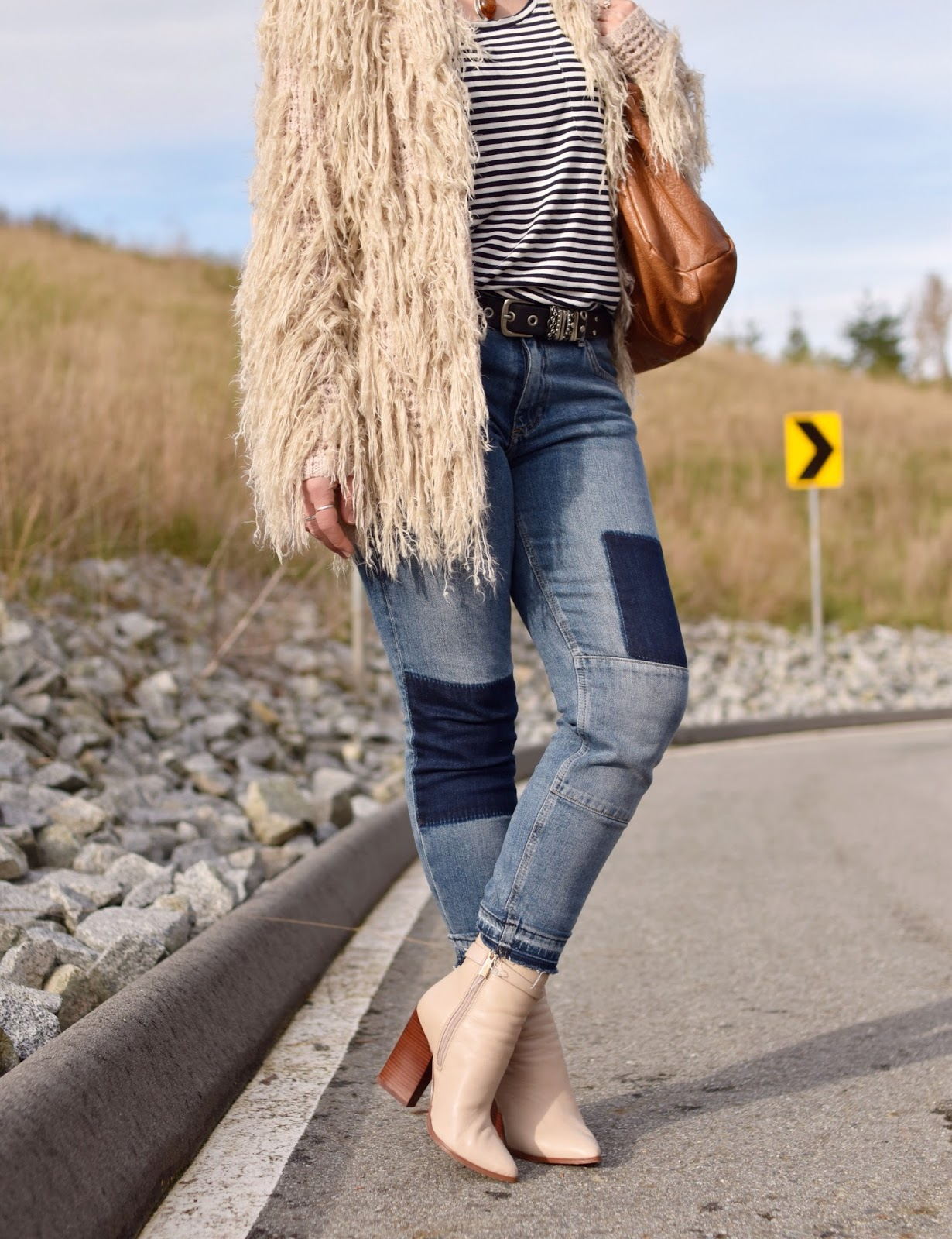 Outfit inspiration c/o Monika Faulkner - shaggy cardigan, striped tee, patchwork skinnies, ivory booties