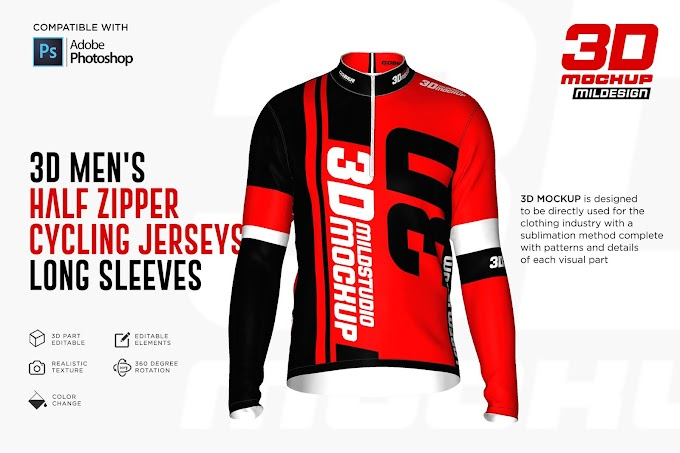 3D Men's Halfzipper Cycling Jersey[Photoshop][5269750]