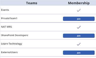 Microsoft Teams List - Options showing if user is member of /or join team button