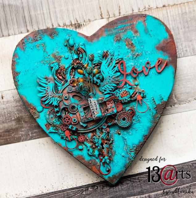 Turkusowy blejtram w kształcie serca