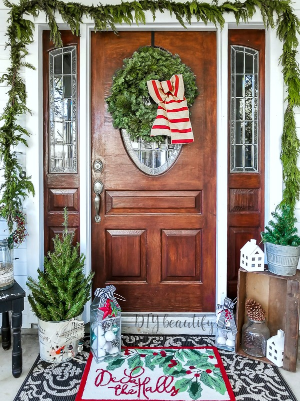 Christmas porch and front door