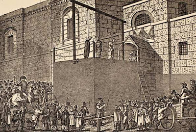 A hanging outside Newgate Prison, early 19th century