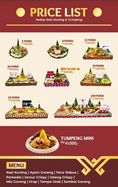 Harga Sedop Nasi Kuning dan Tumpeng