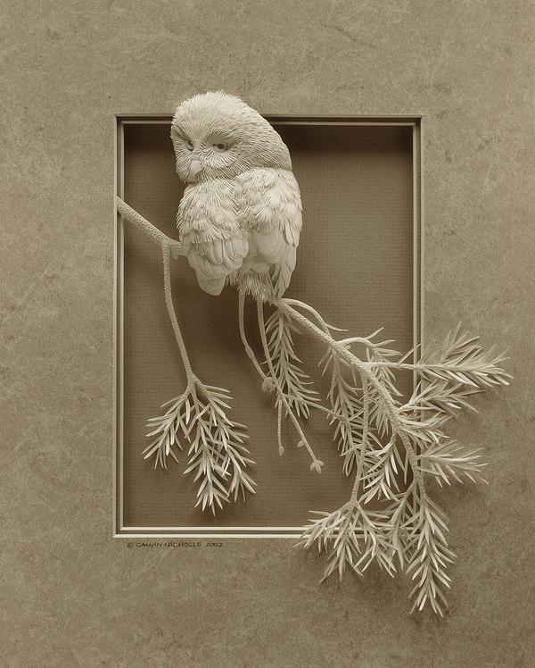 Trabajo artístico en papel de un búho