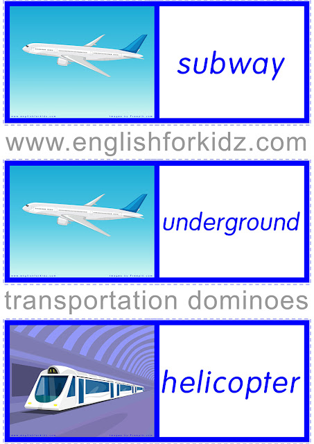 ESL dominoes for the transportation topic