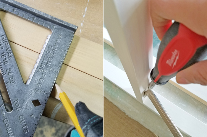 square ruler and kreg jig clamp with Milwaukee screw
