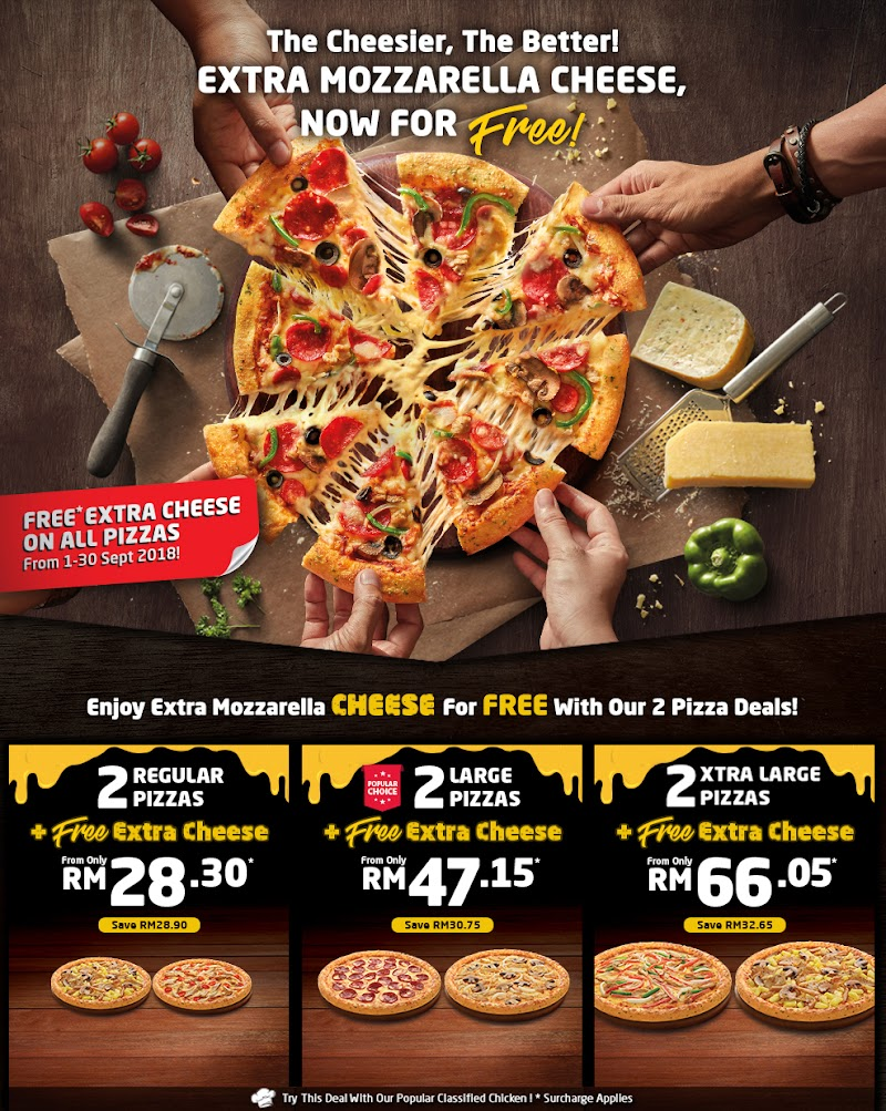 Domino's Spreads Love   with Free Extra Cheese For All Pizzas!