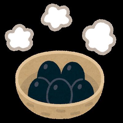 カゴに入った黒玉子のイラスト