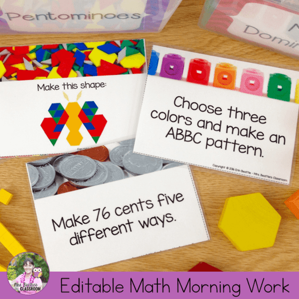 Editable Math Morning Work Task Cards