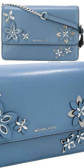 Michael Kors blue floral applique shoulder bag #brilliantluxury
