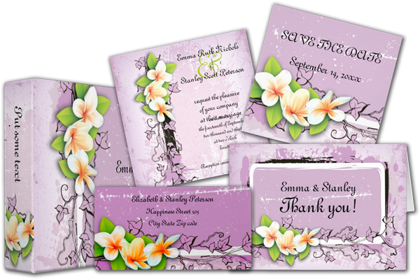 Plumeria Wedding Invitations: Wedding Cards And Gifts: Vintage Plumeria Ivy Purple White