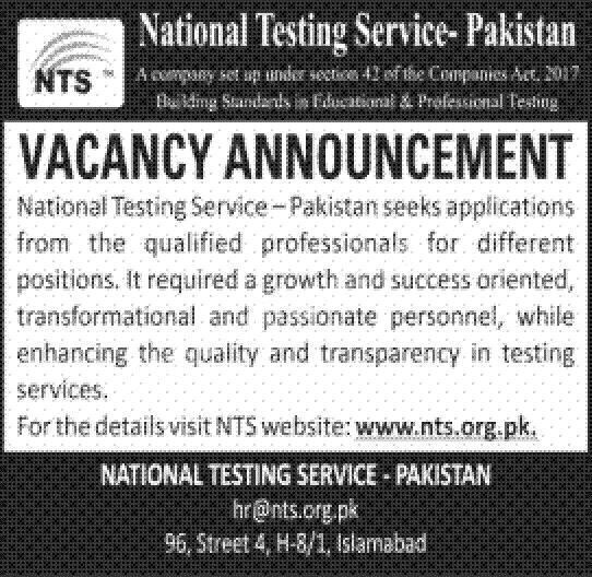 Latest Govt Jobs 2021 National Testing Service (NTS)