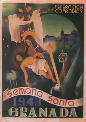 Cartel oficial en 1943 de la Real Federación de Hermandades y Cofradías de Semana Santa de Granada