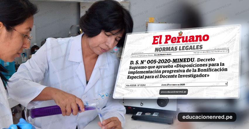 Darán bono mensual para docentes investigadores de universidades públicas (D. S. N° 005-2020-MINEDU)